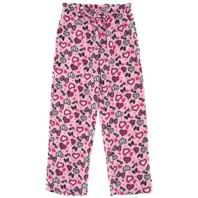 Pink Heart Fleece Pajama Pants for Women