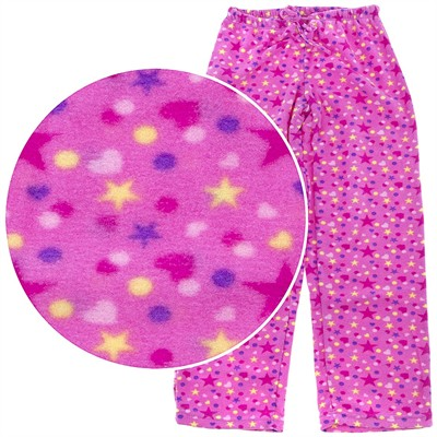 Pink Stars Fleece Pajama Pants for Women