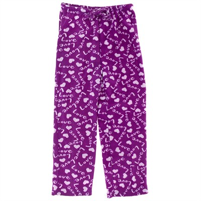 Purple Love Fleece Pajama Pants for Women
