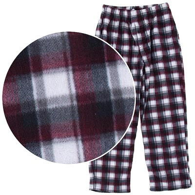 Red, Black, and White Fleece Pajama Pants for Men