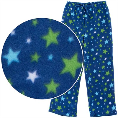 Blue and Green Star Print Fleece Pajama Pants for Women