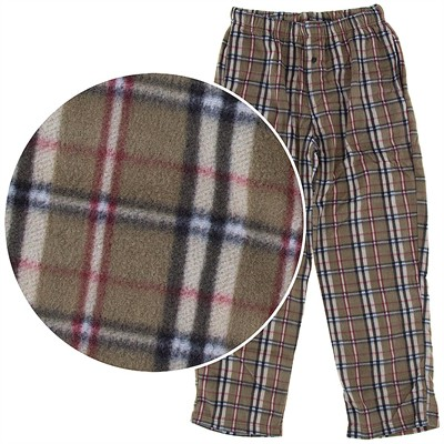 Tan Plaid Fleece Pajama Pants for Men
