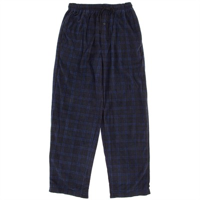 Blue and Navy Plaid Fleece Pajama Pants for Men