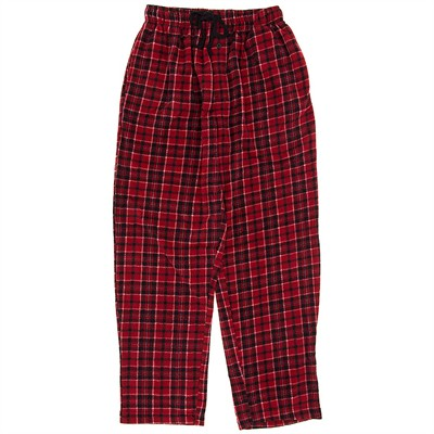 Red and Black Fleece Pajama Pants for Men