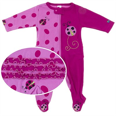 Sozo Ladybug Cotton Footed Sleeper for Baby Girls
