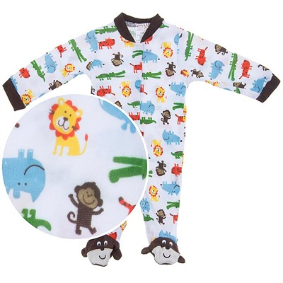 Safari Animals Footed Coverall for Baby Boys