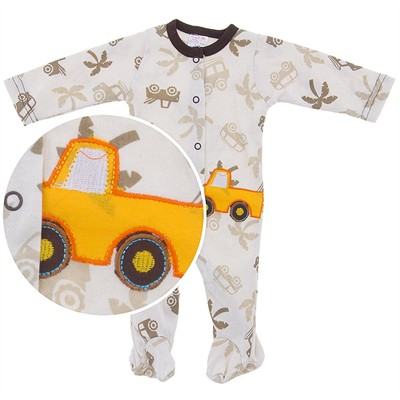 Safari Footed Coverall for Baby Boys