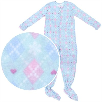 Blue Argyle Plus Size Footed Pajamas for Women