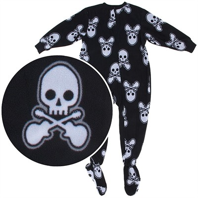 Black Skull Footed Pajamas for Boys