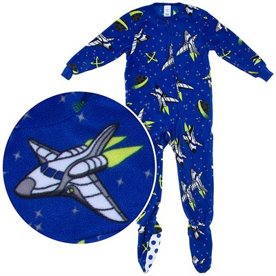 Blue Space Ship Onesie Footed Pajamas for Boys