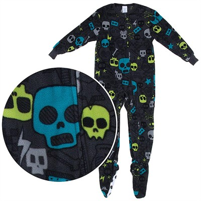 Colored Skull Onesie Footed Pajamas for Boys