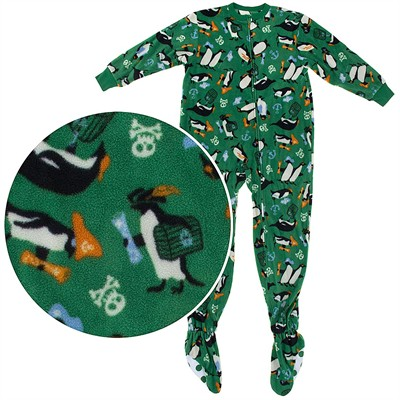 Green Penguin Footed Pajamas for Boys