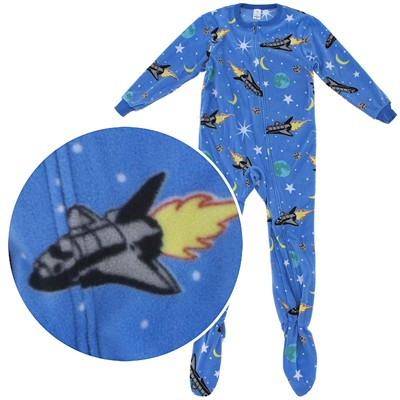 Blue Rocket Footed Pajamas for Boys