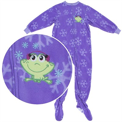Purple Frog Footed Pajamas for Girls