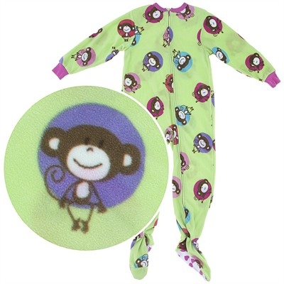 Green Monkey Footed Pajamas for Toddlers and Girls