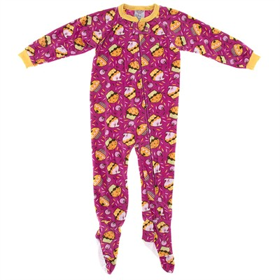 Pink Cupcake Footed Pajamas for Girls
