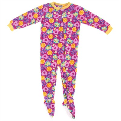 Pink Peace and Love Footed Pajamas for Girls