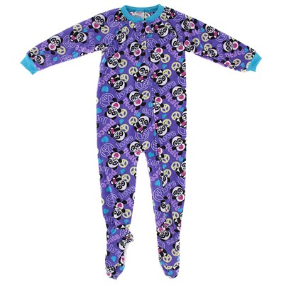Purple Panda Footed Pajamas for Girls