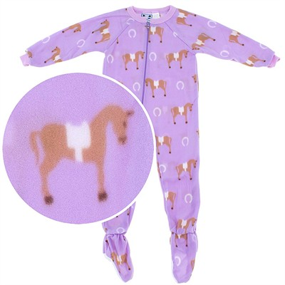Purple Horse Print Footed Pajamas for Girls
