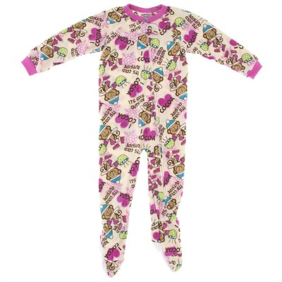 Monkey and Cocoa Footed Pajamas for Girls