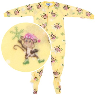 Yellow Monkey Footed Pajamas for Girls