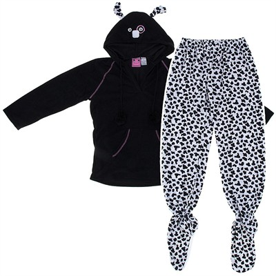 Dalmatian Two-Piece Hooded Footed Pajamas for Women