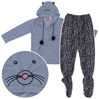 Gray Leopard Two-Piece Hooded Footed Pajamas for Women