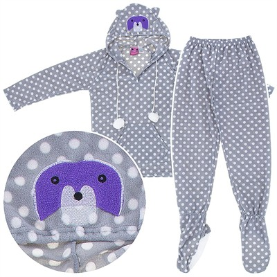 Raccoon Two-Piece Hooded Footed Pajamas for Women