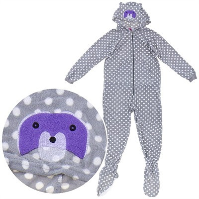 Gray Polka Dot Hooded Footed Pajamas for Women