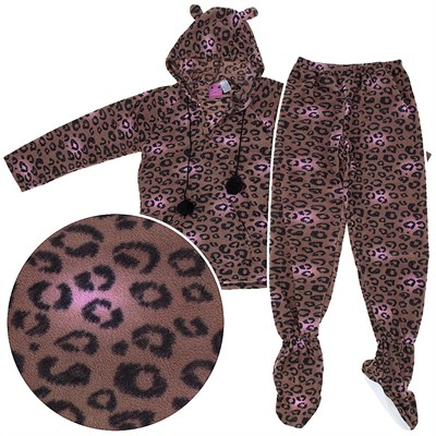 Leopard Two-Piece Hooded Footed Pajamas for Women