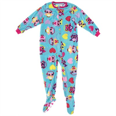 Aqua Owl Footed Pajamas for Girls