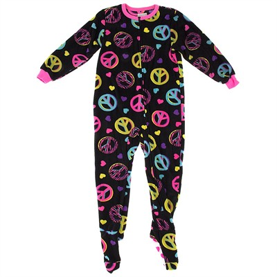 Black Peace Sign Footed Pajamas for Girls