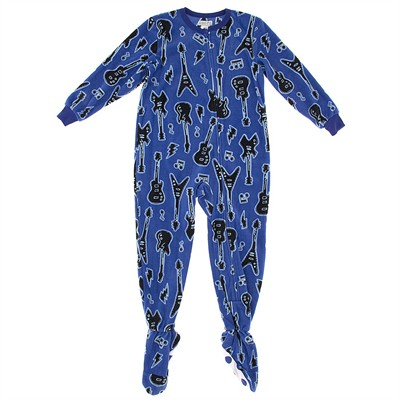 Blue Guitar Footed Pajamas for Boys