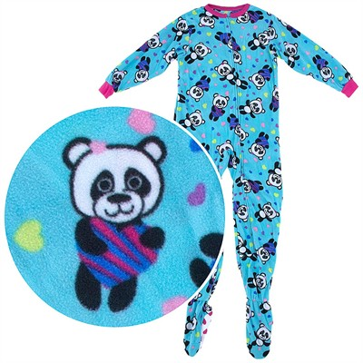 Blue Panda Footed Pajamas for Girls