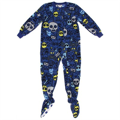 Blue Skulls Footed Pajamas for Boys