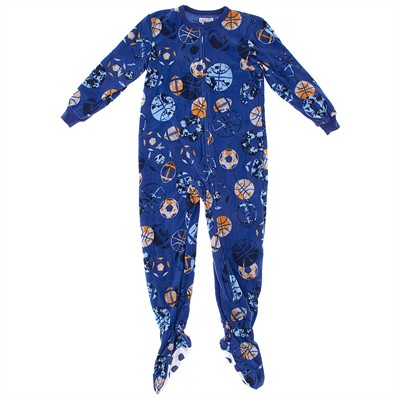 Blue Sports Footed Pajamas for Boys