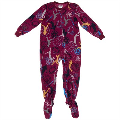 Dark Red Sports Footed Pajamas for Boys