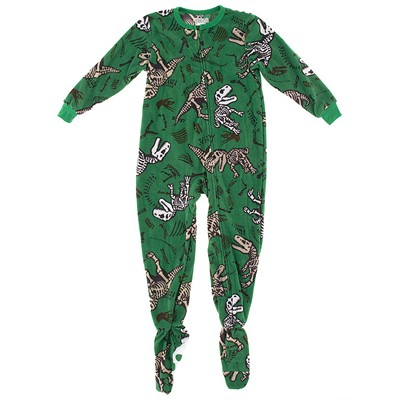 Green Dinosaur Footed Pajamas for Boys