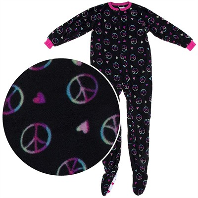 Peace and Heart Footed Pajamas for Girls