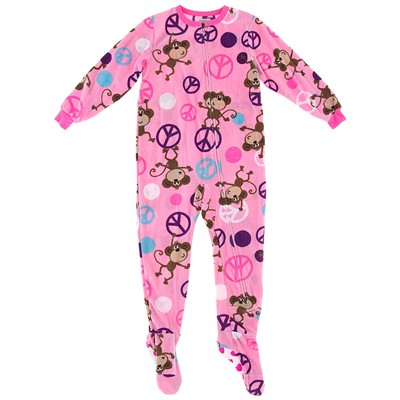 Pink Peace Monkey Footed Pajamas for Girls