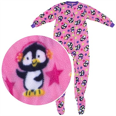 Pink Penguin Footed Pajamas for Girls