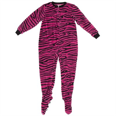 Pink Zebra Footed Pajamas for Girls