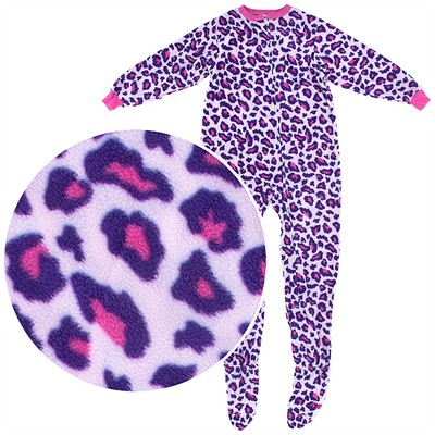 Purple Leopard Footed Pajamas for Girls