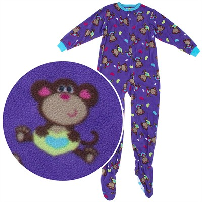 Purple Monkey Footed Pajamas for Girls