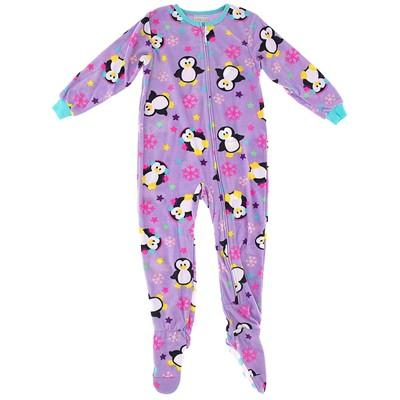 Purple Penguin Footed Pajamas for Girls