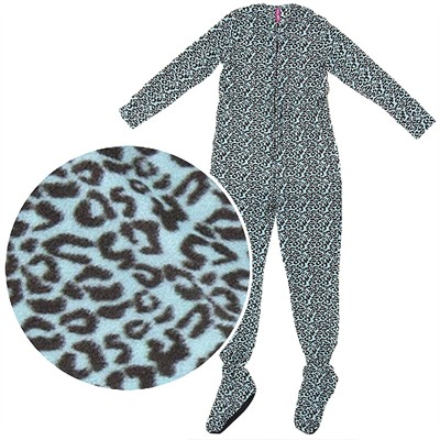 Mint Green Leopard Plush Footed Pajamas for Juniors