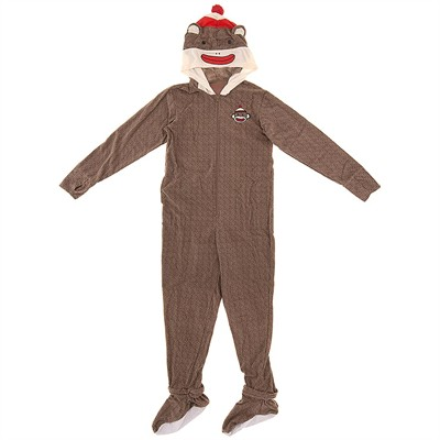 Sock Monkey Footed Pajamas for Men