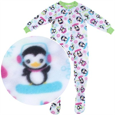 White Penguin Footed Pajamas for Girls