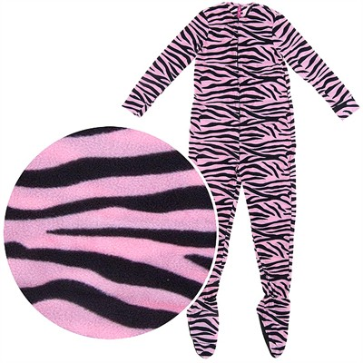 Pink Zebra Plush Footed Pajamas for Juniors