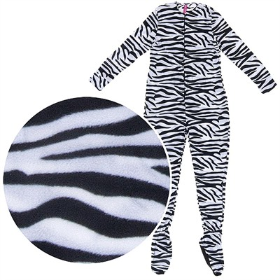 Zebra Plush Footed Pajamas for Juniors